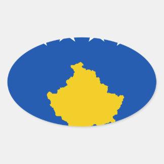 Coût bas ! Drapeau de Kosovo Sticker Ovale