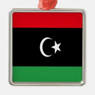 Coût bas ! Drapeau de la Libye Ornement Carré Argenté