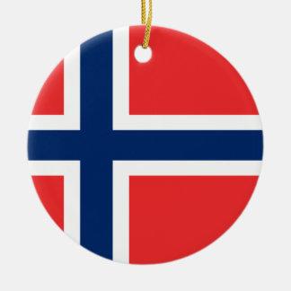 Coût bas ! Drapeau de la Norvège Ornement Rond En Céramique