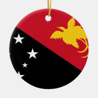 Coût bas ! Drapeau de la Papouasie-Nouvelle-Guinée Ornement Rond En Céramique