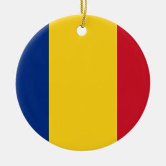 Coût bas ! Drapeau de la Roumanie Ornement Rond En Céramique