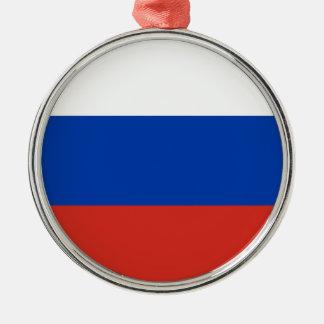 Coût bas ! Drapeau de la Russie Ornement Rond Argenté