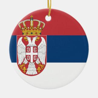 Coût bas ! Drapeau de la Serbie Ornement Rond En Céramique