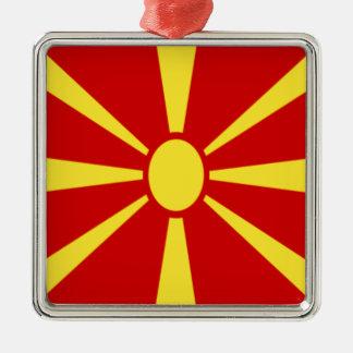 Coût bas ! Drapeau de Macédoine Ornement Carré Argenté