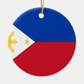 Coût bas ! Drapeau de Philippines Ornement Rond En Céramique
