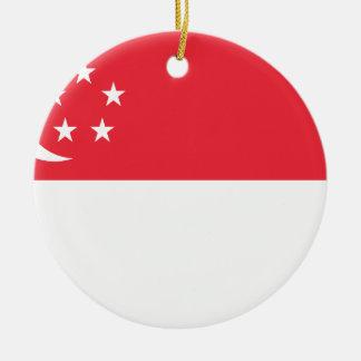 Coût bas ! Drapeau de Singapour Ornement Rond En Céramique
