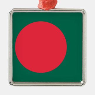 Coût bas ! Drapeau du Bangladesh Ornement Carré Argenté