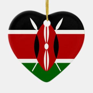 Coût bas ! Drapeau du Kenya Ornement Cœur En Céramique