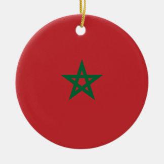 Coût bas ! Drapeau du Maroc Ornement Rond En Céramique