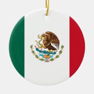 Coût bas ! Drapeau du Mexique Ornement Rond En Céramique