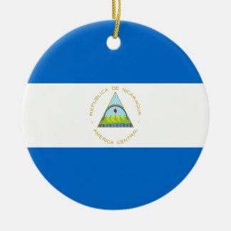 Coût bas ! Drapeau du Nicaragua Ornement Rond En Céramique