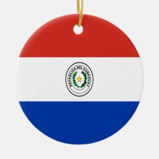 Coût bas ! Drapeau du Paraguay Ornement Rond En Céramique