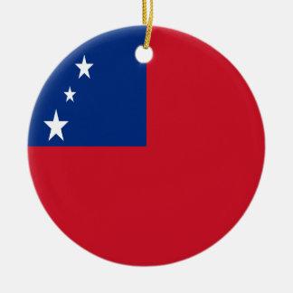 Coût bas ! Drapeau du Samoa Ornement Rond En Céramique