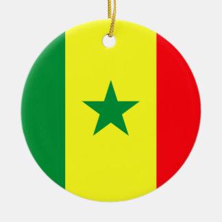 Coût bas ! Drapeau du Sénégal Ornement Rond En Céramique