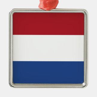 Coût bas ! Drapeau néerlandais Ornement Carré Argenté