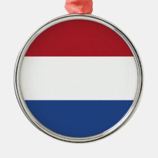 Coût bas ! Drapeau néerlandais Ornement Rond Argenté