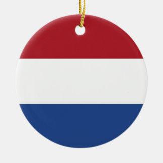 Coût bas ! Drapeau néerlandais Ornement Rond En Céramique