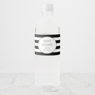 Coutume argentée de rayures noires bonnes fêtes étiquette pour bouteilles d'eau