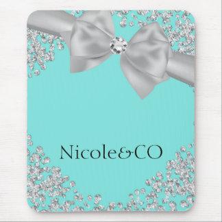 Coutume blanche bleue de charme de diamants d'arc tapis de souris