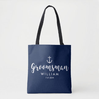 Coutume blanche Groomsman d'ancre de mariage Tote Bag