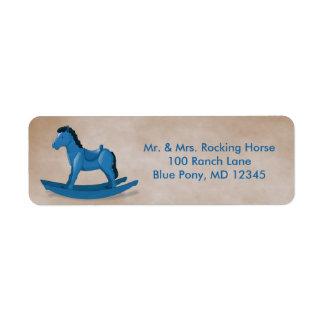 Coutume bleue de bébé de cheval de basculage étiquette d'adresse retour