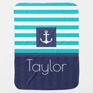 Coutume bleue de conception d'ancre de marine couverture de bébé