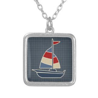 Coutume bleue, rouge, crème nautique de voilier pendentif carré