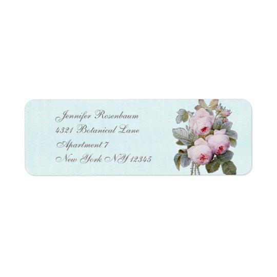 Coutume botanique vintage de bouquet rose de étiquette d'adresse retour