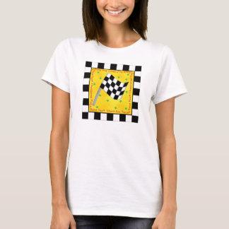 Coutume Checkered de drapeau de fan de course de T-shirt