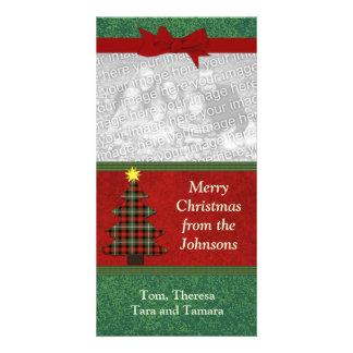 Coutume d'arbre de Noël d'art populaire de plaid Carte Avec Photo