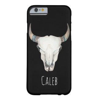 Coutume de Bohème rustique de crâne de vache à Coque iPhone 6 Barely There