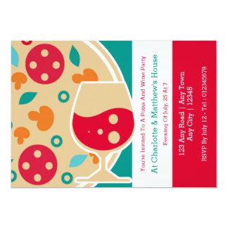 Coutume de partie de pizza et de vin carton d'invitation  12,7 cm x 17,78 cm