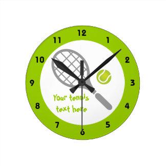 Coutume de raquette et de boule de tennis horloge ronde