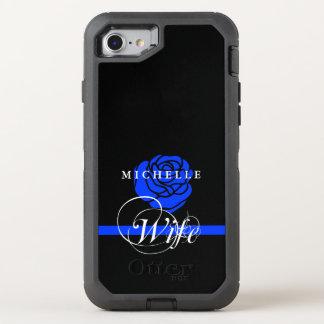 Coutume d'épouse de police de rose de bleu coque otterbox defender pour iPhone 7