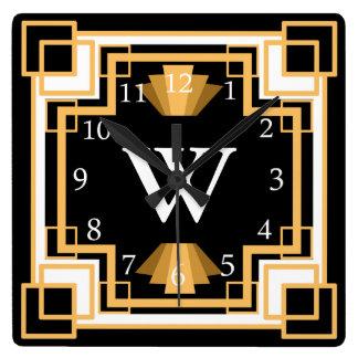 Coutume géométrique de motif des années 1920 horloge carrée