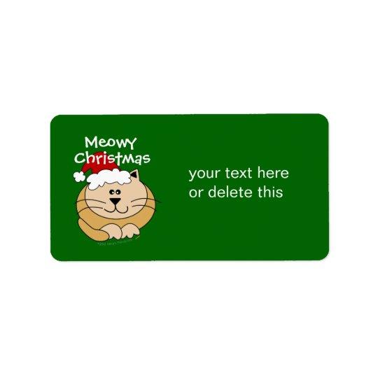 Coutume mignonne de chat de bande dessinée de Noël Étiquettes D'adresse