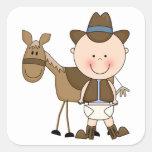 Coutume mignonne de poney de bébé et de cheval autocollants carrés