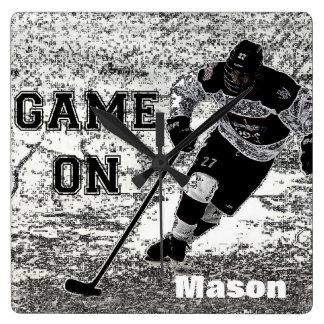 Coutume personnalisée par horloge murale d'hockey