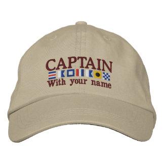 Coutume personnalisée votre capitaine Nautical Chapeaux Brodés