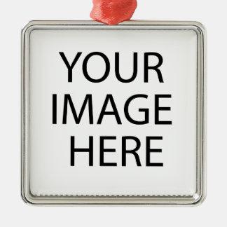 Coutume personnalisée votre propres photo et texte ornement carré argenté
