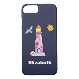 Coutume rayée rouge de phare d'aquarelle coque iPhone 7