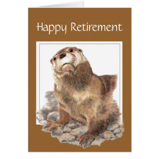 Coutume, retraite drôle, loutre, animal carte de vœux