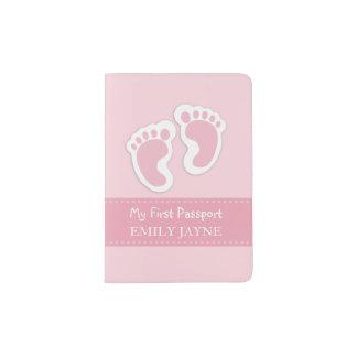 Coutume rose de premières de passeport empreintes protège-passeports