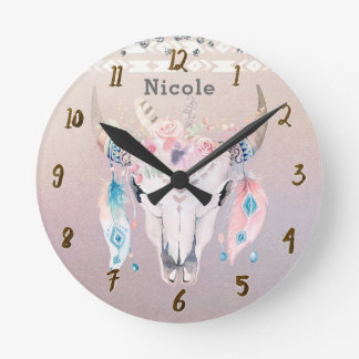 Coutume rustique florale chic assez iridescente de horloge ronde