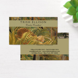 Coutume tropicale d'impression d'art de tigre de cartes de visite