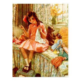 Couture de petite fille carte postale