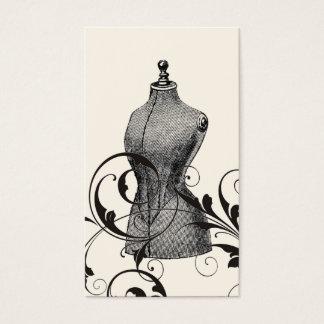 Couture vintage de mode d'ouvrière couturière de cartes de visite