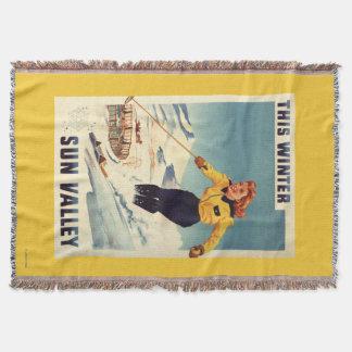 Couverture affiche de sourire et de ski de femme