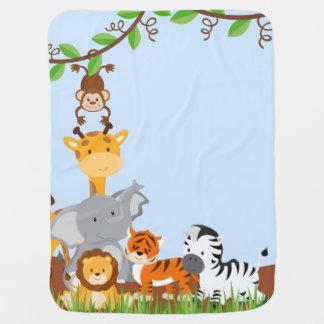 Couverture animale de bébé de bébé mignon bleu de couvertures de bébé