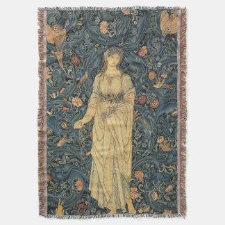 Couverture antique de jet de William Morris Flora